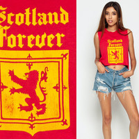 Tank Top SCOTLAND Shirt Crop Top 80s Cropped Travel Celtic Vintage Graphic Print Retro UK 1990s Cut Off United Kingdom Red Extra Small xs