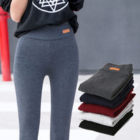 2015 Fall New Womens Casual Sports Nine Pants Leggings Waist Leather Lable Elastic Cotton Leggings Pants Female Women Clothing
