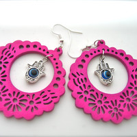 Wooden Earrings , pink Earrings. Hoop Earrings. Bright Earrings. Flower Floral,Fatima hand charm, Hamsa charm
