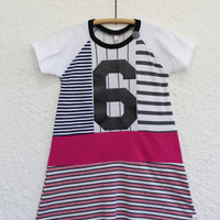Sixth Birthday Dress made from Upcycled T Shirts, Recycled Girl's Size 6 T Shirt Dress  with Number 6 Graphic, Upcycled Girl's T Shirt Dress