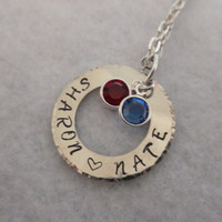 Sweetheart Necklace - Customized Hand stamped charm with birthstones.