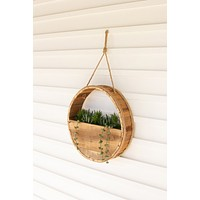 Round Recycled Wood Wall Planter With Rope Hanger