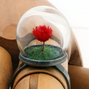 Valentines mini red rose glass dome globe ring with by XercesArt