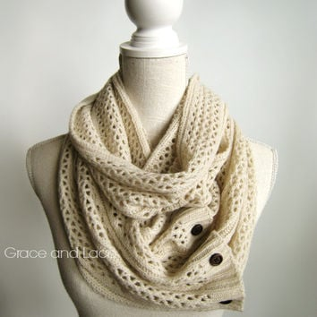 Nellie Knit Scarf - OAT - open weave knit scarf with button closure infinity scarf - chunky scarf - knit infinity scarf - button scarf
