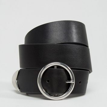 ASOS Tipped End Circle Buckle Jeans Belt Water Based PU at asos.com