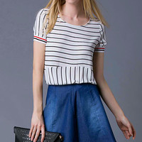 Black and White Striped T-Shirt and Denim Skirt