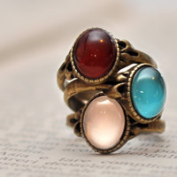 Rainbow Thin Stacking Rings Set Of Three Antique Brass Cabochon Rings