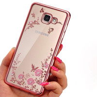 Frame Clear Case Cover For Samsung Galaxy A3 A5 A7 2016 2015 J3 J5 J7 Grand Prime S3 S4 S5 S6 S7 edge Flora Diamonds Soft Cases