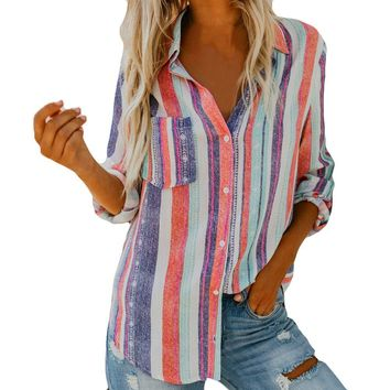 Colorful Stripe Blouse For Women Long Sleeve Lapel Lady Casual Shirt Fashion Tops 2019 Auutmn New #BF