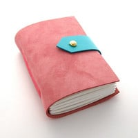 Pink Leather Journal and Sketchbook Pocket by peaseblossomstudio