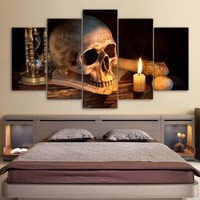 5 Panel Skull Bone Candle Fire Home Decor Panel Print On Canvas Framed Unframed