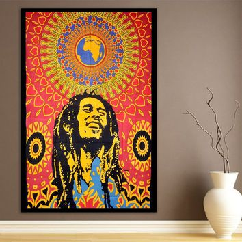 Bob Marley Psychedelic Wall Bed Table Twin Tapestry