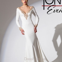Embroidered V-Neck Tony Bowls Evening Gown TBE11533