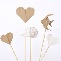 White brown cake toppers - Origami sea summer party - wedding