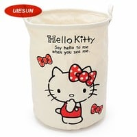 32x42cm Medium Hello Kitty Laundry Basket Canvas Washing Laundry Bag Hamper Storage Dirty Clothing Bags Toy Storage Bag UIE601
