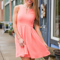 Lucky You Dress, Neon Coral