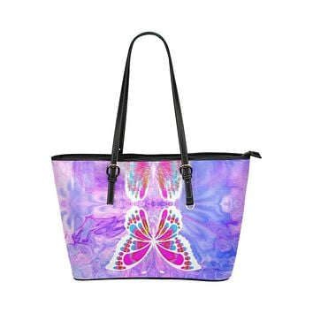 Tote Bags, Purple and Black Gradient Butterfly Style Leather Bag