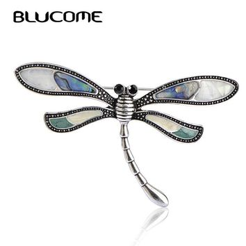 Blucome Party Brooch Abalone Shell Dragonfly Brooches Broches Hijab Pin Brand Bijoux For Kids Women Lady Bag Scarf Accessories