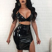 """""""Wet dreams"""" latex leather style 2 piece crop top skirt set"""