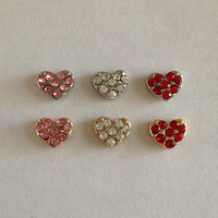 Floating charms for living memory lockets hearts - silver and gold - pink crystal, clear crystal, red crystal