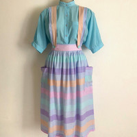 Vintage 1980s 'Birds' striped pastel pinafore dress with button straps and big patch pockets