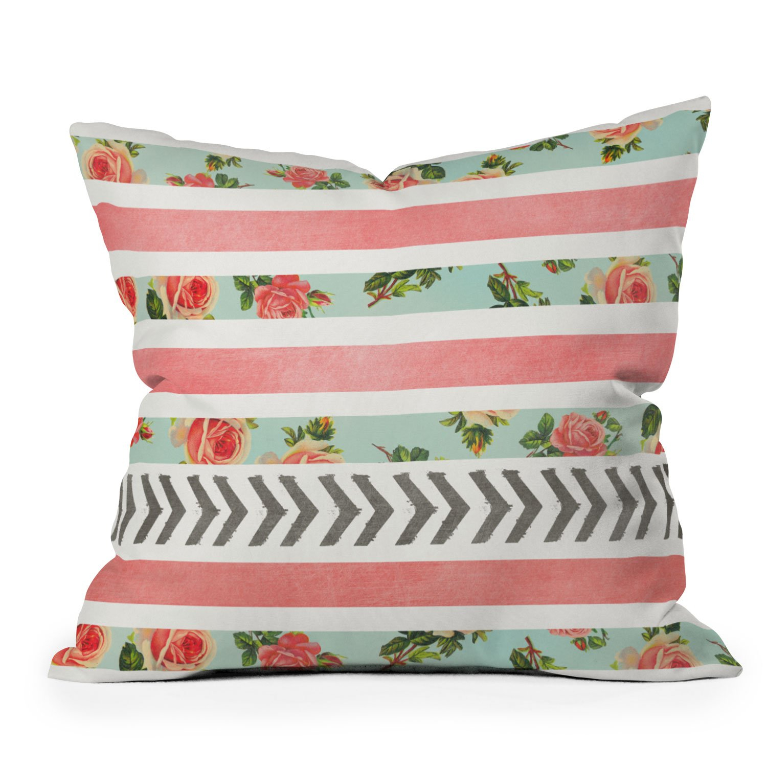 Image of Allyson Johnson Floral Stripes And Arrows Throw Pillow