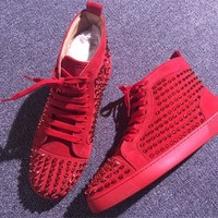 DCCK Christian Louboutin high tops CL fashion casual shoes red sole for men and women sneakers 90520