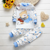 BibiCola Baby Underwear Clothing Set Baby Shoulder Buckle 2Pcs Set Baby Boy Girl Bear Clothes toddler kids tracksuit clothes
