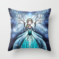The Snow Queen Throw Pillow by Mandie Manzano