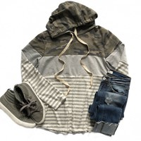 Camo and Gray Striped Hoodie