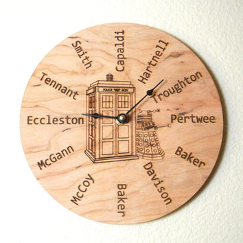 12 Doctor Who Clock with the TARDIS and Dalek