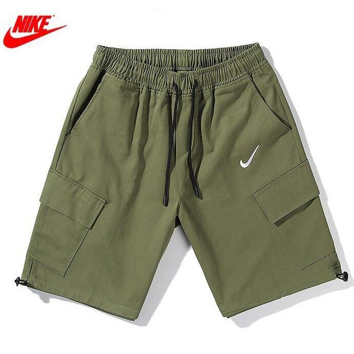 Image of NIKE New Summer Embroidery Hook Women Men Shorts Army Green