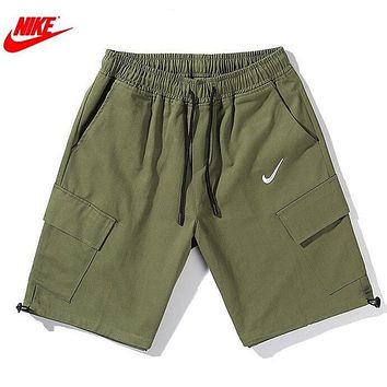 NIKE New Summer Embroidery Hook Women Men Shorts Army Green