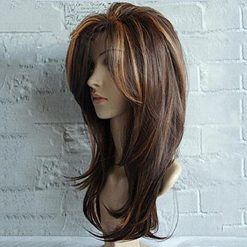 New product wig ladies gradient color long curly hair wig set
