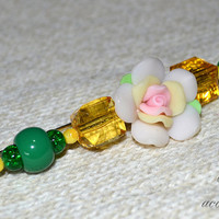 Fashion hand-decorated safety pin to adorn Hats and Jackets, close Cardigan and Scarves - Color Green and Yellow -  (SPL04)
