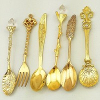 6Pcs/Set Vintage Style Spoon & Forks Sweet Coffee Dessert Cutlery Snack Decor Lovely Detailed Exquisite Spoons Set