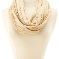 Open Knit Sequin Infinity Scarf by Charlotte Russe - Taupe