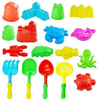 Kare and Kind 17pcs kid's Summer Beach Toys set/sand play set with Models and molds (Castle+ Animal + Tool, Colorful)