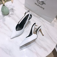 Versace Fashion Leather Women's High Heels Shoes Sandals 0508