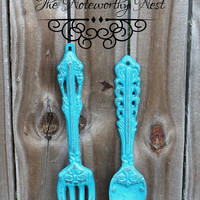 Cast iron spoon and fork // Cast iron utensils // Turquoise spoon fork // Kitchen decor // Spoon Fork wall hanging // kitchen wall decor