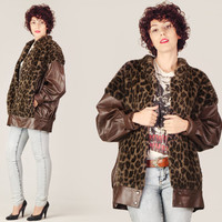 80s Faux Fur & Vegan Leather Jacket / Leopard Brown Oversize Coat / Avant Garde Animal Print Large L Jacket