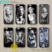 Tattooed Marilyn Monroe Audrey Hepburn iPhone 6 case iPhone 6 Plus case, iPhone 5 case, iPhone 5S Case, Galaxy S5 S4 S3 Note 2 Note 3, A0430