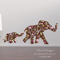 Mom and Baby Elephants Vines and Plants Patterned Fabric Repositionable Wall Decal