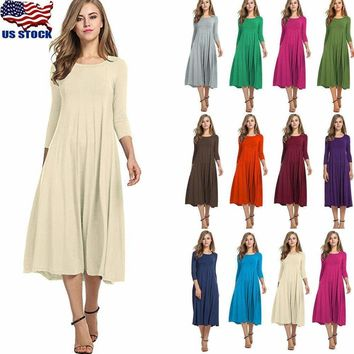 US Women Long Sleeve Shirt Long Maxi Dress Casual Flared Swing Skater Midi Dress   1