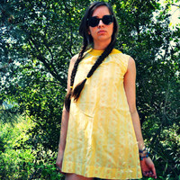 Playdate 60's MOD Yellow FLORAL and Polka Dot by bonetoothantler