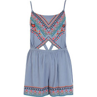 Blue embroidered cut out playsuit