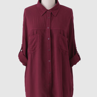 Karrie Oversized Button-Up Blouse