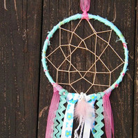 Dream Catcher turquoise pink peach girls room teen room decor boho chic gift for her wall hanging