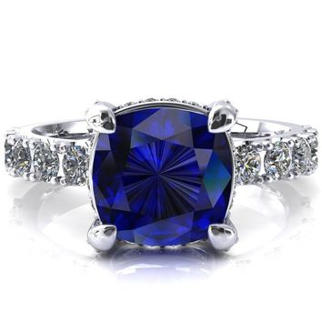 Grandeur Cushion Blue Sapphire 4 Prong Basket and Half Eternity Fire Ring