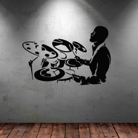 Wall decal art decor decals sticker drums tool play sound drummer music note song star melody picture room (m863)